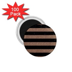Stripes2 Black Marble & Brown Colored Pencil 1 75  Magnet (100 Pack)