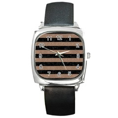 Stripes2 Black Marble & Brown Colored Pencil Square Metal Watch by trendistuff