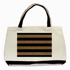 Stripes2 Black Marble & Brown Colored Pencil Basic Tote Bag by trendistuff