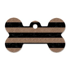 Stripes2 Black Marble & Brown Colored Pencil Dog Tag Bone (one Side) by trendistuff