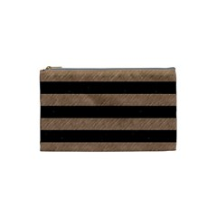 Stripes2 Black Marble & Brown Colored Pencil Cosmetic Bag (small) by trendistuff