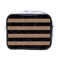 Stripes2 Black Marble & Brown Colored Pencil Mini Toiletries Bag (one Side) by trendistuff