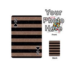 Stripes2 Black Marble & Brown Colored Pencil Playing Cards 54 (mini) by trendistuff