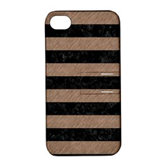 Stripes2 Black Marble & Brown Colored Pencil Apple Iphone 4/4s Hardshell Case With Stand by trendistuff