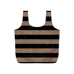Stripes2 Black Marble & Brown Colored Pencil Full Print Recycle Bag (s) by trendistuff