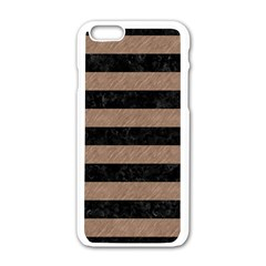 Stripes2 Black Marble & Brown Colored Pencil Apple Iphone 6/6s White Enamel Case by trendistuff