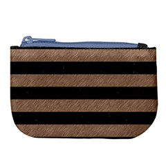 Stripes2 Black Marble & Brown Colored Pencil Large Coin Purse by trendistuff