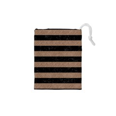 Stripes2 Black Marble & Brown Colored Pencil Drawstring Pouch (xs)