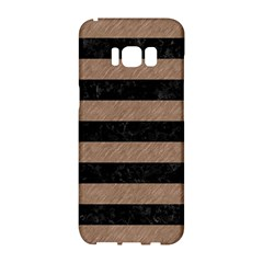 Stripes2 Black Marble & Brown Colored Pencil Samsung Galaxy S8 Hardshell Case  by trendistuff