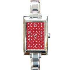 Red Polka Dots Rectangle Italian Charm Watch by LokisStuffnMore