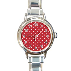 Red Polka Dots Round Italian Charm Watch by LokisStuffnMore