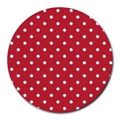 Red Polka Dots Round Mousepads by LokisStuffnMore