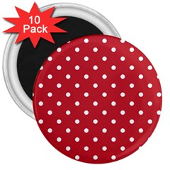 Red Polka Dots 3  Magnets (10 Pack)  by LokisStuffnMore