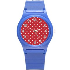Red Polka Dots Round Plastic Sport Watch (s) by LokisStuffnMore