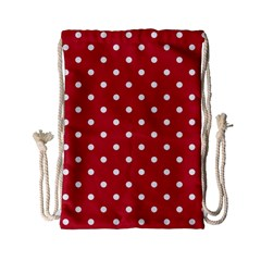 Red Polka Dots Drawstring Bag (small) by LokisStuffnMore