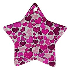 Sparkling Hearts Pink Ornament (star) by MoreColorsinLife