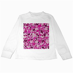 Sparkling Hearts Pink Kids Long Sleeve T Shirts