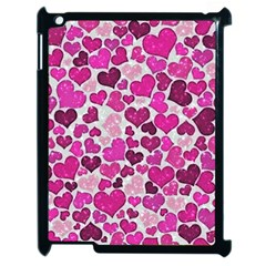 Sparkling Hearts Pink Apple Ipad 2 Case (black) by MoreColorsinLife