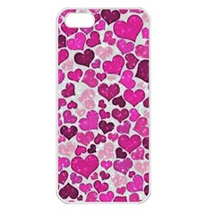 Sparkling Hearts Pink Apple Iphone 5 Seamless Case (white) by MoreColorsinLife