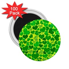 Sparkling Hearts, Green 2 25  Magnets (100 Pack)  by MoreColorsinLife