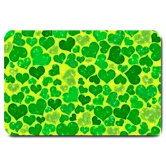 Sparkling Hearts, Green Large Doormat  by MoreColorsinLife