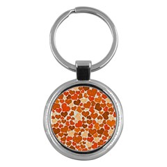 Sparkling Hearts,orange Key Chains (round)  by MoreColorsinLife