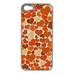 Sparkling Hearts,orange Apple Iphone 5 Case (silver) by MoreColorsinLife