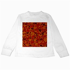 Sparkling Hearts,deep Red Kids Long Sleeve T Shirts