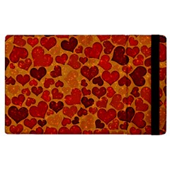 Sparkling Hearts,deep Red Apple Ipad 3/4 Flip Case by MoreColorsinLife