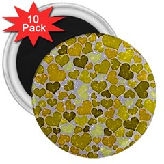Sparkling Hearts,yellow 3  Magnets (10 Pack)  by MoreColorsinLife