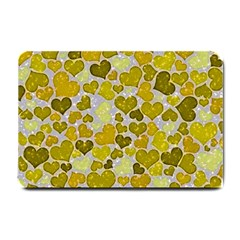 Sparkling Hearts,yellow Small Doormat  by MoreColorsinLife
