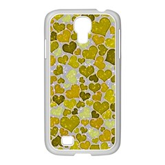 Sparkling Hearts,yellow Samsung Galaxy S4 I9500/ I9505 Case (white)