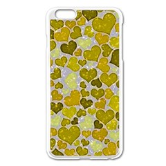 Sparkling Hearts,yellow Apple Iphone 6 Plus/6s Plus Enamel White Case by MoreColorsinLife