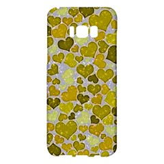 Sparkling Hearts,yellow Samsung Galaxy S8 Plus Hardshell Case  by MoreColorsinLife