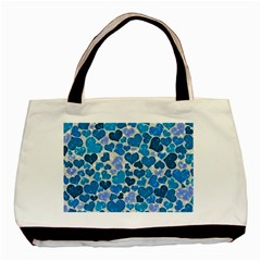 Sparkling Hearts, Teal Basic Tote Bag (two Sides) by MoreColorsinLife