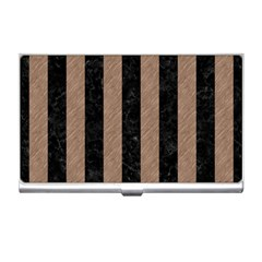 Stripes1 Black Marble & Brown Colored Pencil Business Card Holder by trendistuff