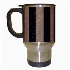 Stripes1 Black Marble & Brown Colored Pencil Travel Mug (white) by trendistuff