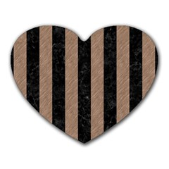 Stripes1 Black Marble & Brown Colored Pencil Heart Mousepad by trendistuff