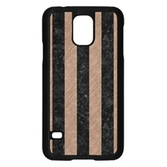 Stripes1 Black Marble & Brown Colored Pencil Samsung Galaxy S5 Case (black) by trendistuff