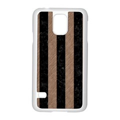 Stripes1 Black Marble & Brown Colored Pencil Samsung Galaxy S5 Case (white) by trendistuff