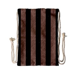 Stripes1 Black Marble & Brown Colored Pencil Drawstring Bag (small) by trendistuff