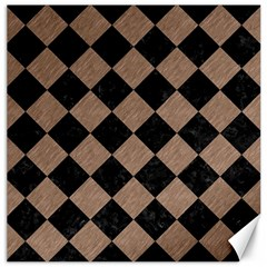 Square2 Black Marble & Brown Colored Pencil Canvas 16  X 16  by trendistuff
