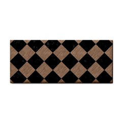 Square2 Black Marble & Brown Colored Pencil Hand Towel by trendistuff