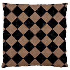 Square2 Black Marble & Brown Colored Pencil Large Cushion Case (two Sides) by trendistuff