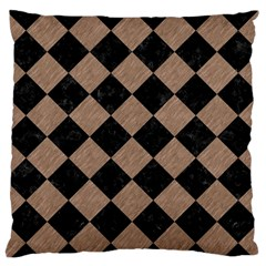 Square2 Black Marble & Brown Colored Pencil Large Flano Cushion Case (two Sides) by trendistuff
