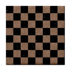 Square1 Black Marble & Brown Colored Pencil Tile Coaster by trendistuff