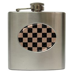 Square1 Black Marble & Brown Colored Pencil Hip Flask (6 Oz) by trendistuff
