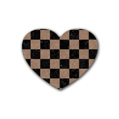 Square1 Black Marble & Brown Colored Pencil Rubber Heart Coaster (4 Pack) by trendistuff