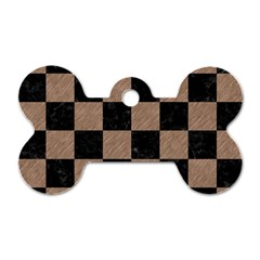 Square1 Black Marble & Brown Colored Pencil Dog Tag Bone (one Side) by trendistuff