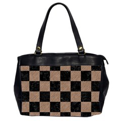Square1 Black Marble & Brown Colored Pencil Oversize Office Handbag (2 Sides) by trendistuff